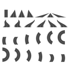 Bending roads and high ways road curves geometric vector