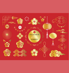 big collection chinese ornaments elements vector image