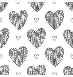 Black boho ornamental hearts seamless pattern vector