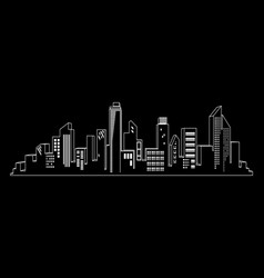 Black cities silhouette icon set on black vector