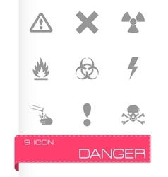 black danger icon set vector image
