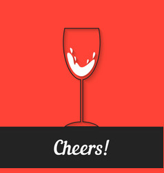 black wineglass icon on red background vector image