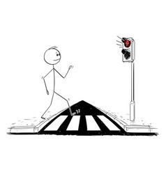 Cartoon man walking on pedestrian crossing or vector