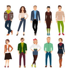 Cartoon young fashion people vector