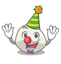 Clown mozzarella cheese isolated on mascot cartoon vector