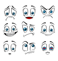 Comic style faces emotions expression set vector