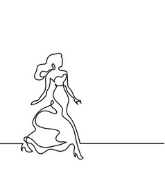 Continuous line drawing dancing woman vector