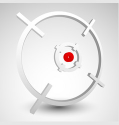 Crosshair firearms reticle graphics with red dot vector