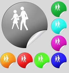 Crosswalk icon sign Set of eight multi colored vector