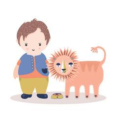 cute cartoon lion and little boy vector image