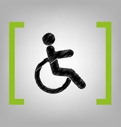 Disabled sign black scribble vector