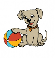 Dog with beach ball vector