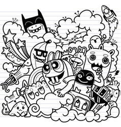 Doodle cute set funny monster vector