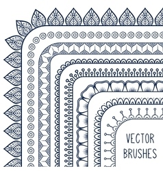 Ethnic hand drawn line border set and vector