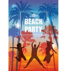 Exotic banner with palm trees and people vector