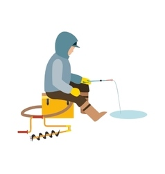 Fisherman enjoying days winter fishing on ice vector image