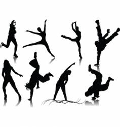 Fitness women silhouettes vector