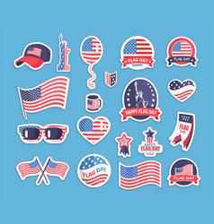 Flag day usa themed souvenirs collection vector