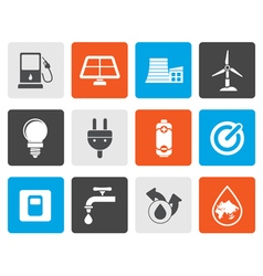 Flat Ecology power and energy icons vector image