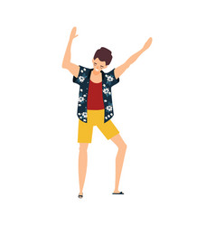 Flat young man dancing at beach party vector