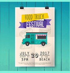 Food truck festival poster on wood texture vector