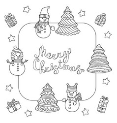 Frame with snowmen and christmas trees coloring vector
