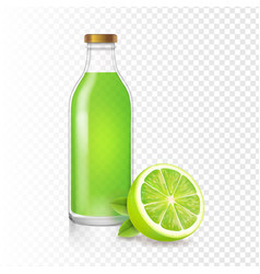 Fresh lime juice in bottle with lime slice vector