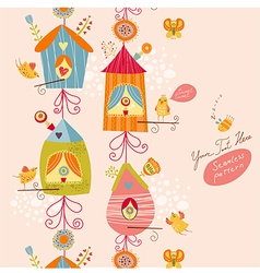 Funny bird nests seamless pattern vector