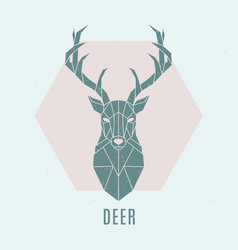 geometric deer abstract nordic deer emblem vector image