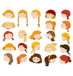 Girls with different facial expressions vector image