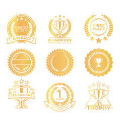 grand prize trophies set vector image