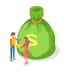 Green money bag with dollar sign cartoon people vector