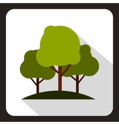Green trees icon flat style vector image