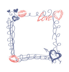 Hand drawn doodle heart frame happy valentines day vector