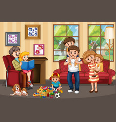 Happy family quarantine at home vector