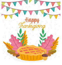 Happy thanksgiving invitation poster cake acorns vector