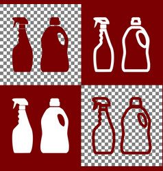 Household chemical bottles sign bordo and vector