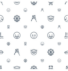 Joy icons pattern seamless white background vector