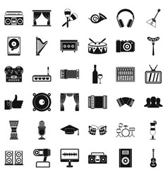karaoke icons set simple style vector image