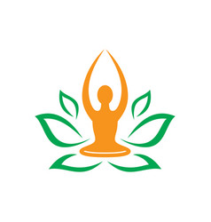 leaf nature yoga meditation logo vector image