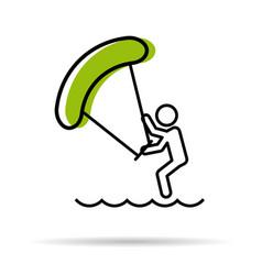 Line icon - kitesurfing vector