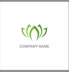 lotus green leaf logo vector image