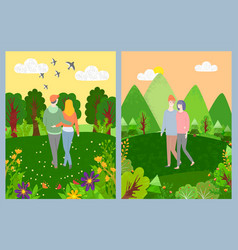 lovers leisure in park romantic day green vector image