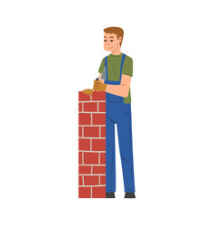 man laying bricks male construction worker vector image