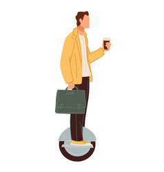 man with coffee riding on gyroboard or scooter vector image