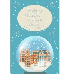 Merry Christmas vintage greeting card vector
