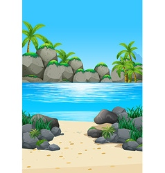 Ocean scene with island and beach vector