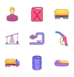 Oil production icons set cartoon style vector