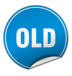 Old round blue sticker isolated on white vector