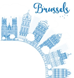 Outline brussels skyline with blue building vector